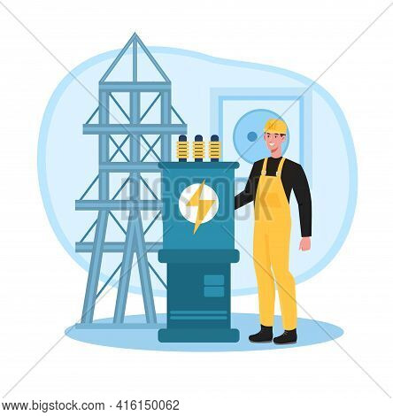 Smiling Male Worker In Yellow Overall Working On Power Transmission. Concept Of Electricity And Ligh