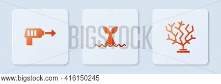 Set Whale Tail In Ocean Wave, Fishing Harpoon And Coral. White Square Button. Vector