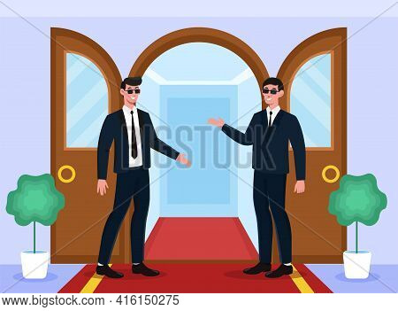 Two Male Smiling Bodyguards Are Welcoming At Doors On Red Carpet. Concept Of Protective Event Hostin