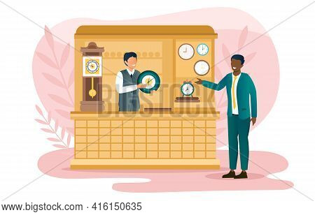 Male Saller Helps Customer To Choose Watch In A Store. Smiling Man Choosing Gift For Relative. Sales