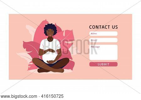 Contact Us Template Of Yoga For Pregnant Yoga Concept. Wellness And Healthy Lifestyle In Pregnancy.