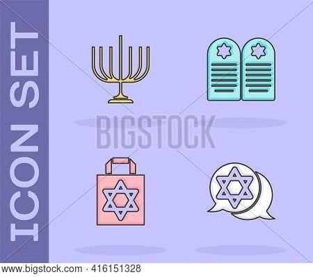 Set Star Of David, Hanukkah Menorah, Shopping Bag With Star David And Tombstone Icon. Vector