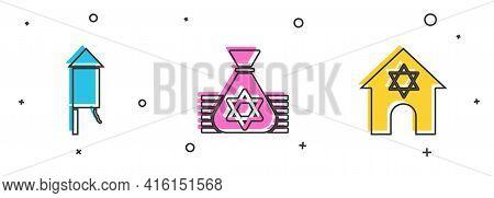 Set Firework Rocket, Jewish Money Bag And Synagogue Icon. Vector