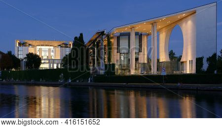Berlin, Germany, August 12, 2020, Federal Chancellery In Blue Hour, Seat Of The German Chancellor In