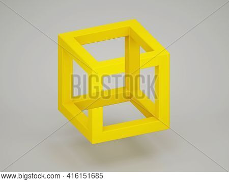 Popular Optical Illusion With Paradoxical Yellow Cube Over Light Gray Background. 3d Rendering Illus