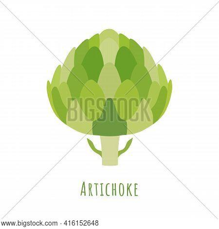 Single One Green Artichoke Isolated On White