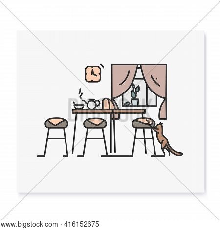 Kitchen Interior Color Icon.morning In Kitchen Room With Teapot On Table And Cat.home And Domestic H