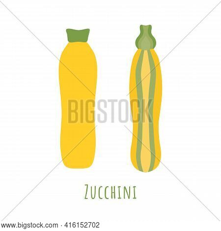 The Two Types Of Zucchini Isolated On White