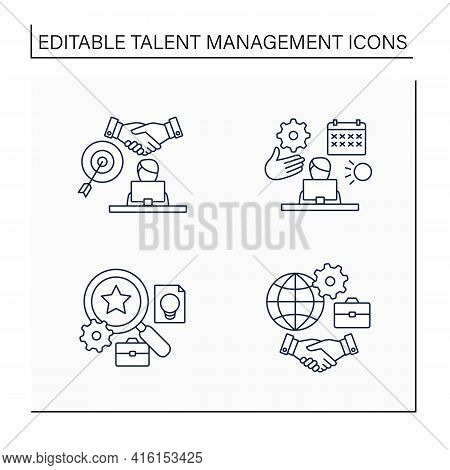 Talent Management Line Icons Set.time Off Management, Goal Agreement Employee, Talent Analytics, Inc