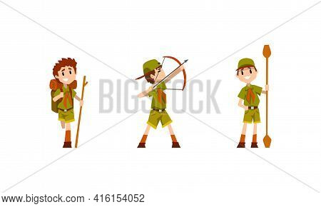 Scouting Boys Activity Set, Boy Scouts Wearing Khaki Uniform Hiking And Shooting With Bow Vector Ill