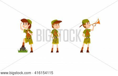 Scouting Boys Activity Set, Boy Scouts Wearing Khaki Uniform Looking Into Distance, Pleying Trumpet