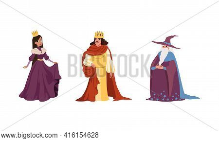 Medieval Characters Dressed Ancient Clothes Set, Majestic King, Queen, Old Male Wizard Vector Illust