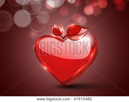 Happy Valentine's Day background, greeting card or gift card with glossy heart, love concept. EPS 10.