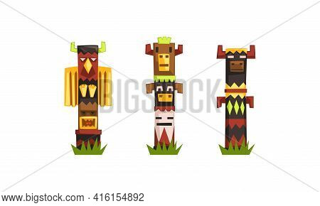 Indian Totem Poles Set, Colorful Wooden Ethnic Ceremonial Objects, Family Tribe Clan Symbol Vector I