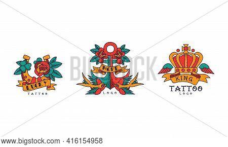Old School Tattoos Set, Lucky, Hope, King Vintage Style Tattoo Vector Illustration