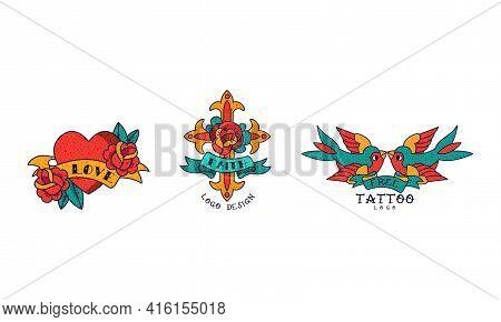 Old School Tattoos Set, Love, Faith, Free Vintage Style Tattoo Vector Illustration