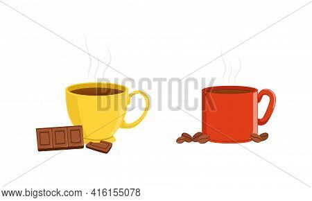 Hot Aroma Beverages, Ceramic Cups Of Coffee And Chocolate Cartoon Vector Illustration