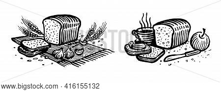 Bread With Garlic And Cumin, Still Lifes, Vector Illustration. Vintage Graphics And Handwork. Drawin