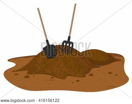 Vector Pile Of Soil. One Big Brown Heap Of Organic Compost In Side View Isolated Illustration, Ferti