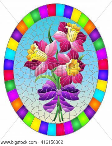 Illustration In The Stained Glass Style With A Bouquet Of Pink Daffodils On A Blue Background, Oval