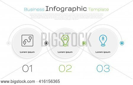 Set Line Route Location, Location With House And . Business Infographic Template. Vector