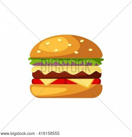 Burger Icon With Cheese, Lettuce, Sesame Bun, Isolated On White Background. Hamburger, Cheeseburger,