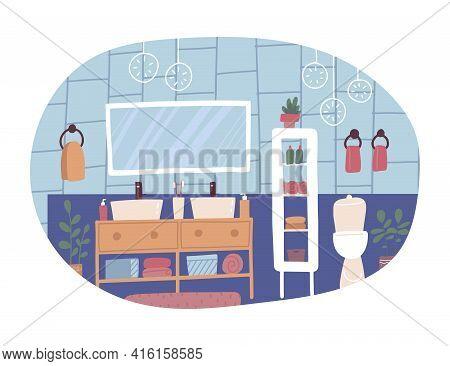Furniture Store Isolated Concept. Bathroom Interior Design. Furniture Elements Set Including Mirror,