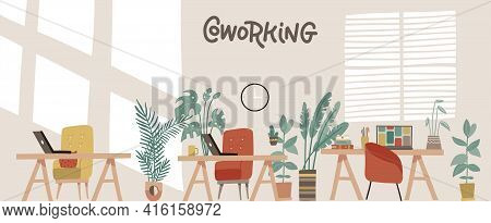 Office With Houseplants . Coworking Workspace Interior Design In Scandinavian Style. Workers Desks W