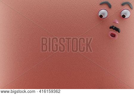 3d Rendering Of Unique And Shocked Emotion,  Glanced Below Left And Pink Paper Wall. Perfect For Ill