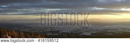 Panoramic View Of The Tatra Mountains Early In The Morning. A Mountain Range That Form A Natural Bor