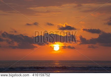 Sunset View At The Beach Of Matapalo, Costa Rica. Matapalo Is Located In The Southern Pacific Coast.
