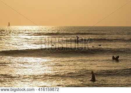 Orange Pacific Sunset In Lima, Peru