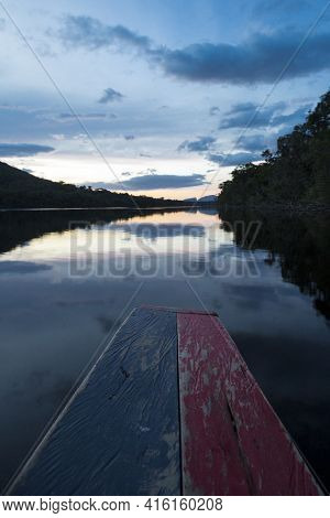 Sunset In The Canaima National Park And Reflections In The Water Of The Gauja River. Bolivar State,