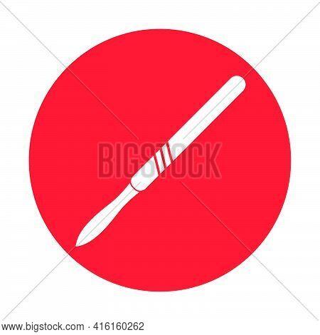 Medical Scalpel Icon. Hospital Surgery Knife Sign Illustration