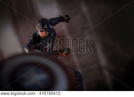 APRIL 8 2021:  Scene from Marvel's The Avengers - Captain America in action throwing his shield - Hasbro action figure