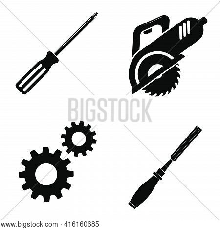 Set Of Work Icons. Crosshead Screwdriver, Gears, Chisel, Circular Saw In Flat Style