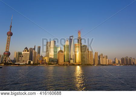 Shanghai, China - 2nd April: City Skyline View And Sunset On The Pudong Financial District On The Hu