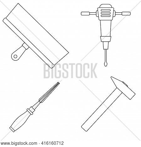 Set Of Work Icons. Putty Knife, Mining Hammer Drill, Chisel, Hammer In Flat Style