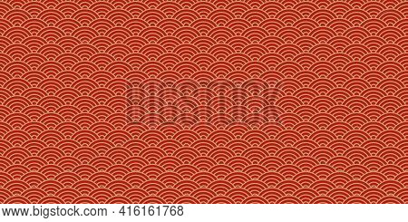 Chinese Vector Seamless Pattern, Oriental Background, Japanese Texture, Red And Golden Colors. Asian