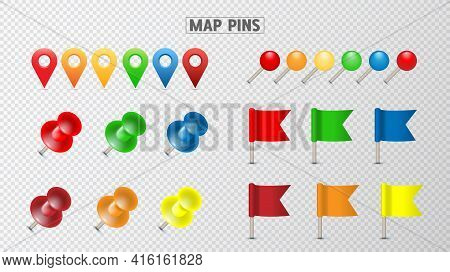 Pushpin Thumbtack For Note Attach Collection. Realistic 3d Push Pins Pinned Vector Set
