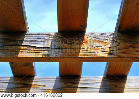 Abstract Patio Roof Top High In The Sky Outdoors.