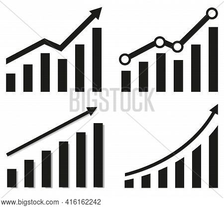 Collection Of Graphs With Increase Report. Diagram With Rise And Gain Progress. Vector Illustration