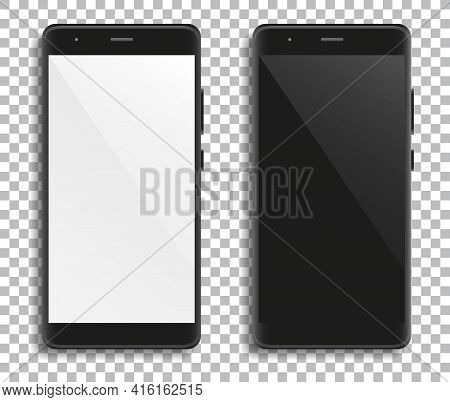 Modern Telephones With Blank White And Black Touchscreens On Transparent  Background For Design. Vec