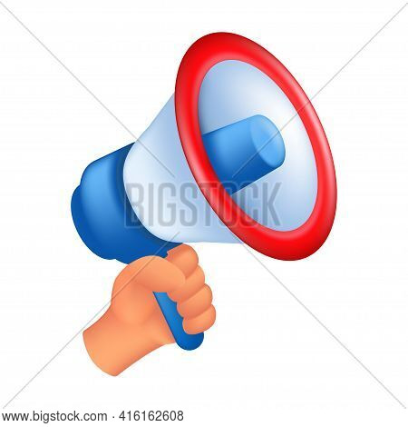 Human Hand Holding A Loudspeaker. 3d Cartoon Vector Illustration Of A Male Hand With A Megaphone Iso