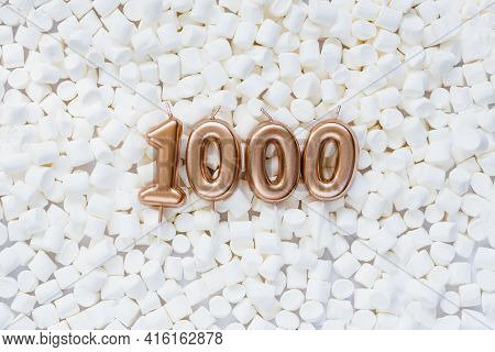 1000 Followers Card. Template For Social Networks, Blogs. Background With White Marshmallows. Social