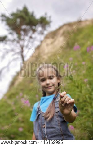 Happy Girl Relaxing Away On Nature, Digital Detox, Escape And Getaway, Calm Summertime, Lifestyle Ou