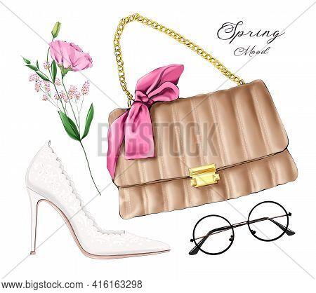 Fashion Flat Lay Set With Bag, Female Shoe, Eyeglasses And Flower. Fashion Illustration.