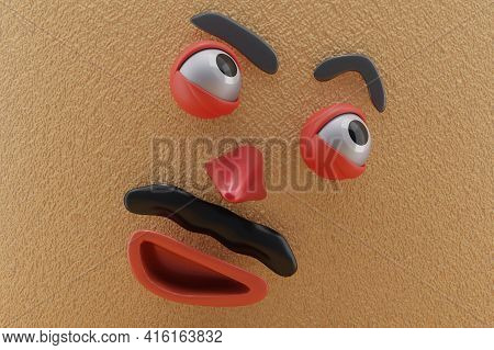 3d Rendering Of Unique Emotion, Happy Emotion, Glanced Up Right, Brown Paper Wall . Perfect For Illu
