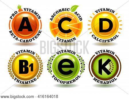 Creative Concept Vector Set Of A, B, C, D, E, K Vitamin Complex Signs With Cartoon Sun Symbol, Reali