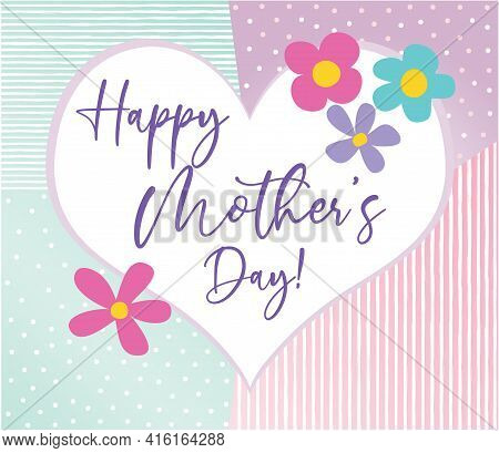 Happy Mother's Day Inside Heart With Decorative Background